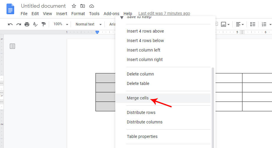Merge Cells in Google Docs Table