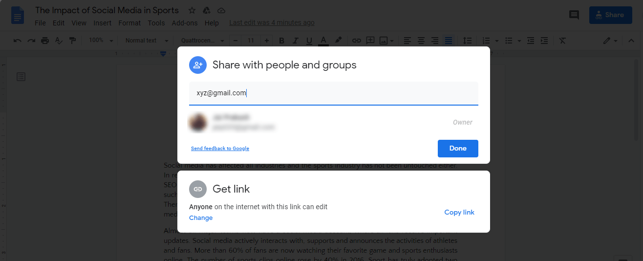 share google docs file with people an group