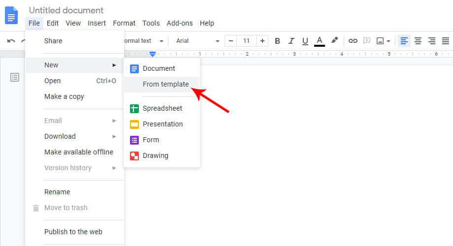 From Template Option in Google Docs