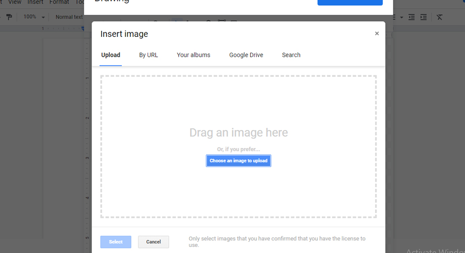 Insert Image in Drawing on Google Docs