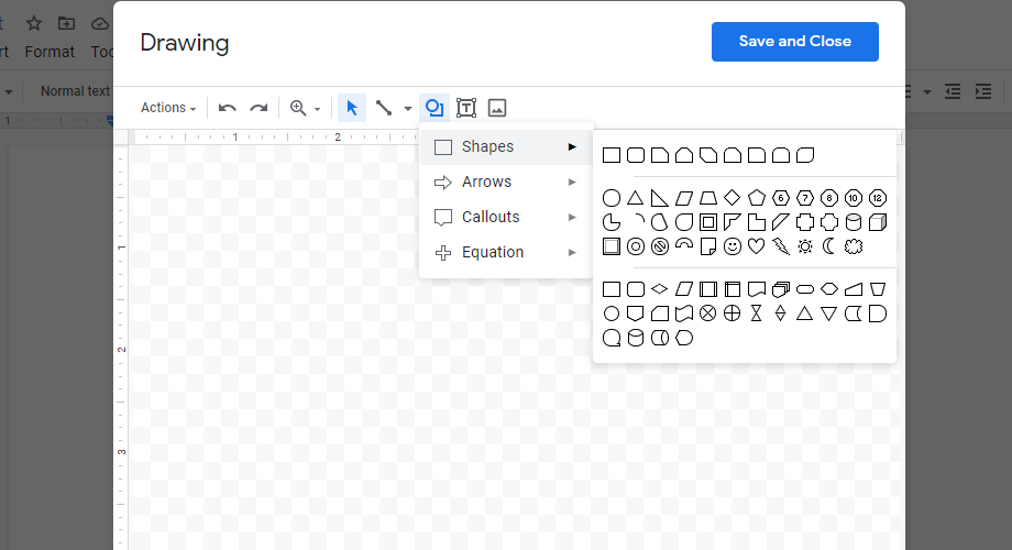 text box shapes in google docs