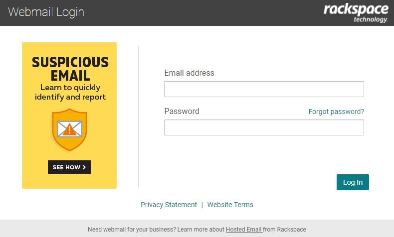 Rackspace Webmail Login Page