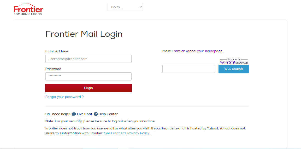 Frontier Webmail Login Page