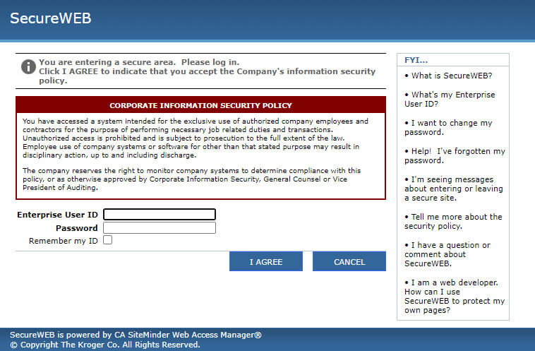 Kroger Eschedule Secureweb Login Page