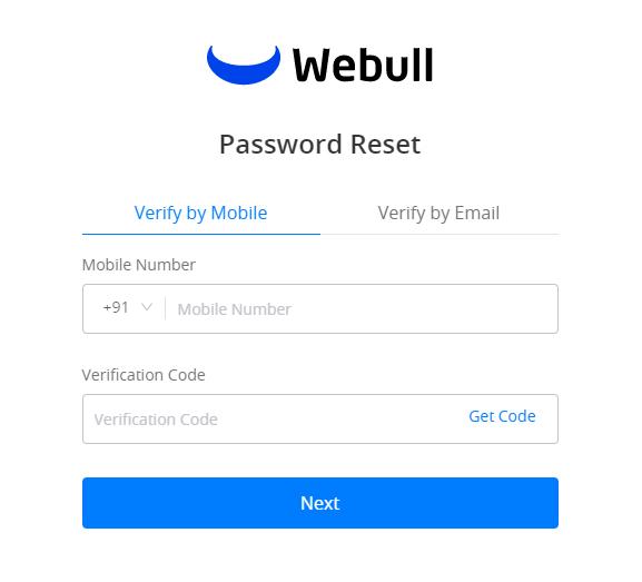 Webull Password Reset