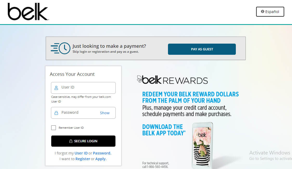 Belk Credit Card Account Login Page