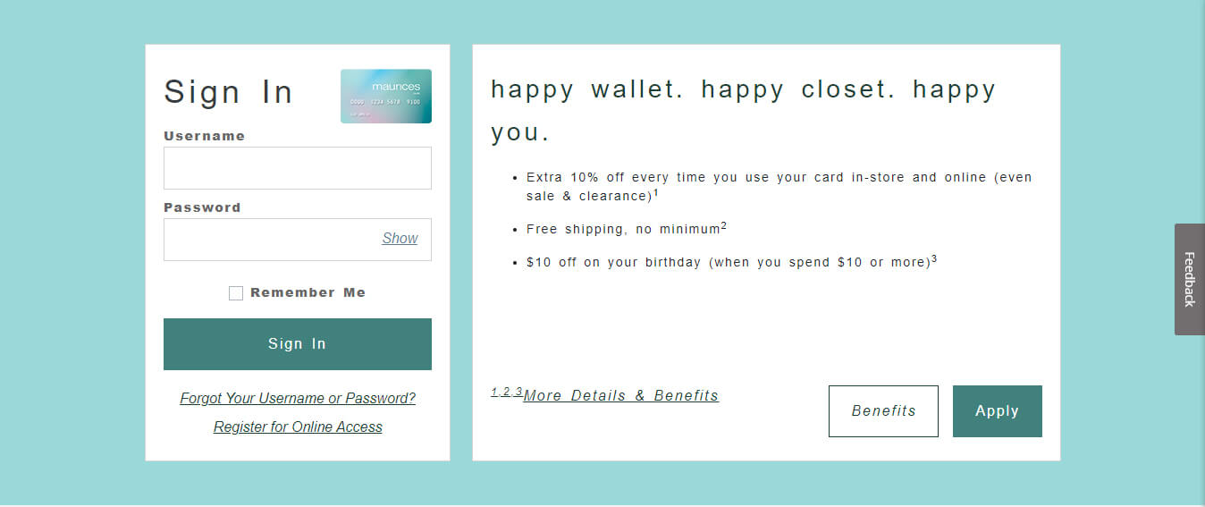 Maurices Credit Card Login Page