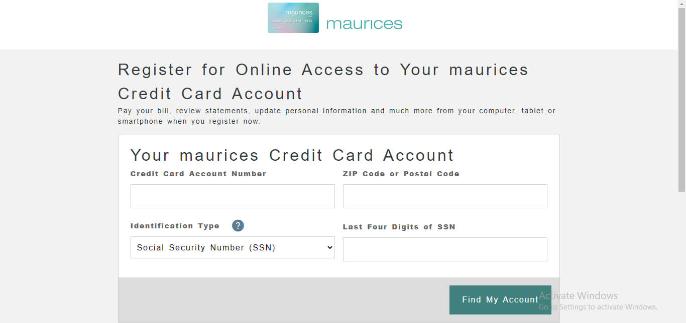 Register for Maurices Credit Card Account for Online Access