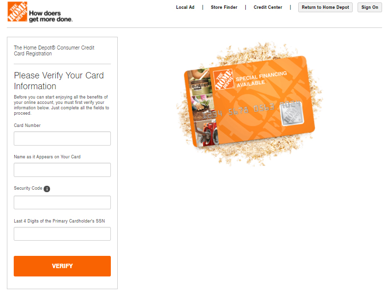 The Home Depot Consumer Credit Card Registration