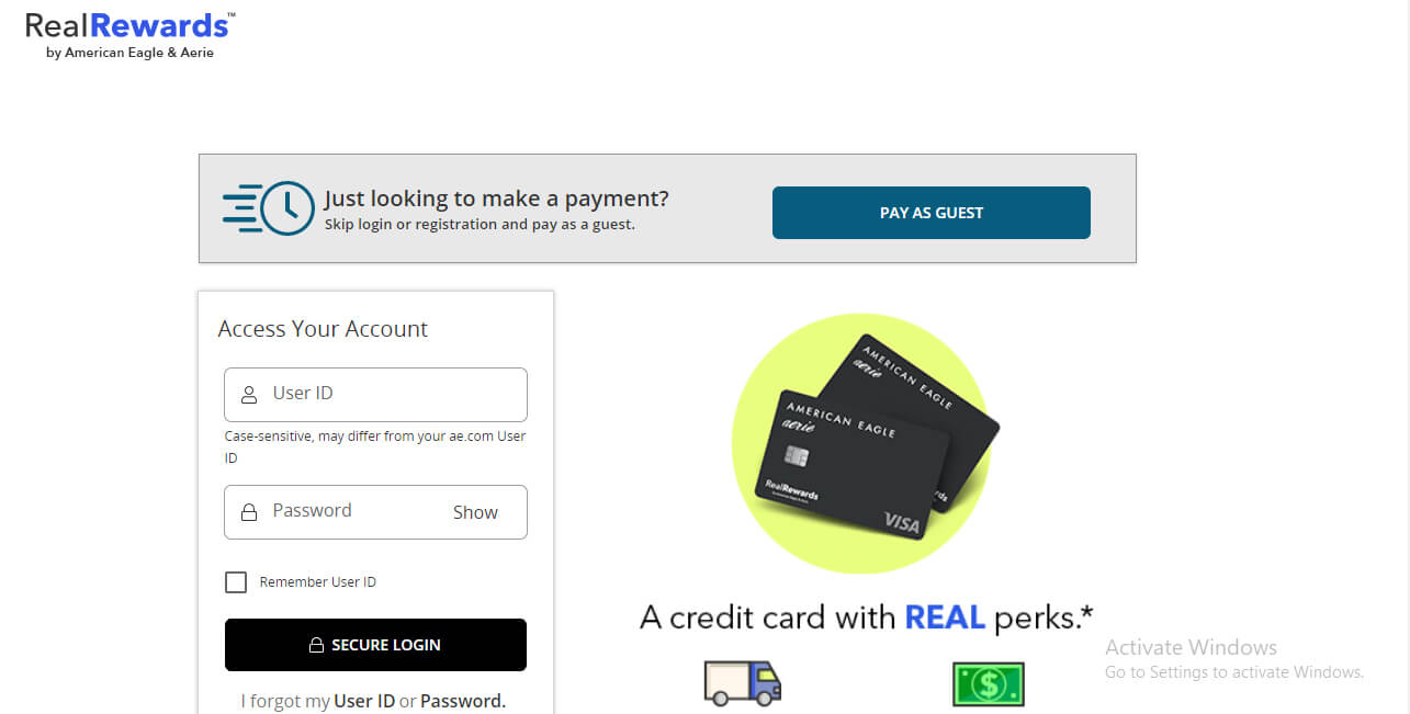 American Credit Card Login Page