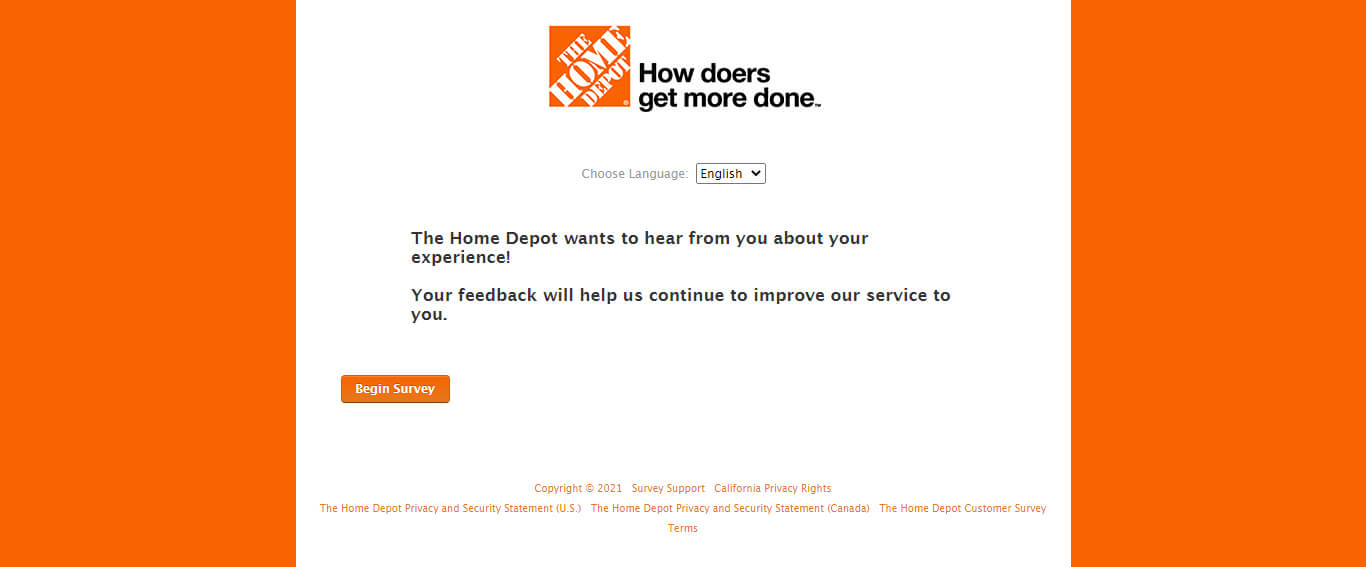 Home Depot Feedback Survey