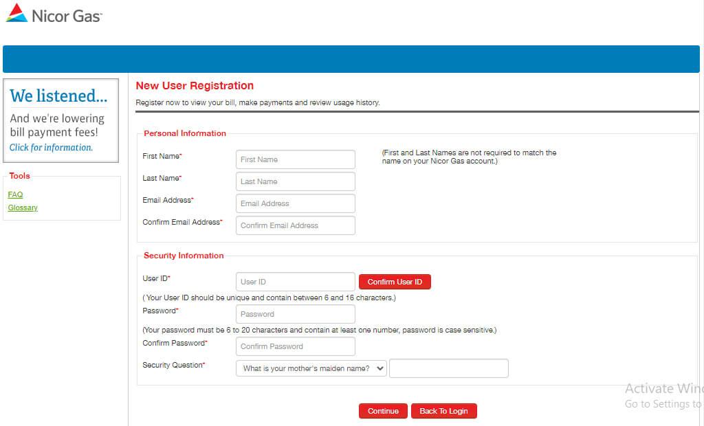 Nicor Gas User Registration Online