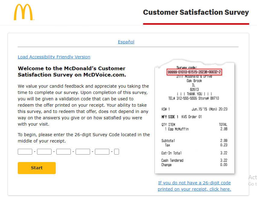 McDVoice MacDonalds Customer Survey