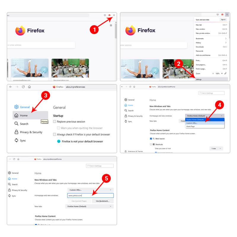 Steps to Make Yahoo Homepage on Firefox